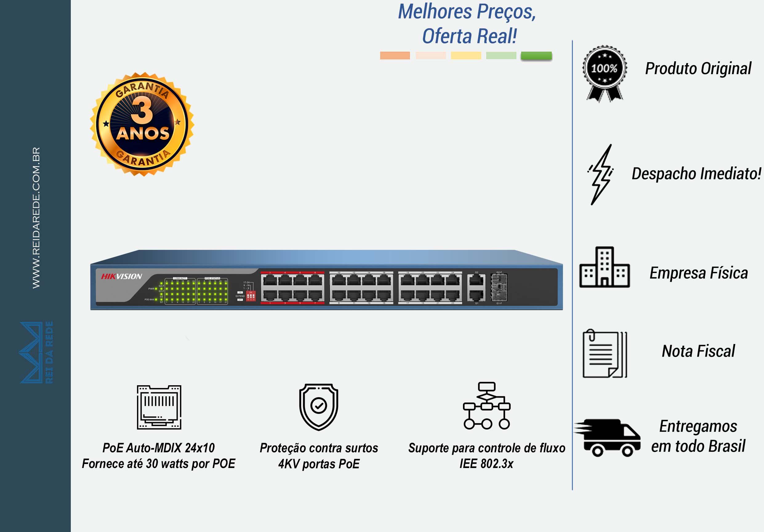 SWITCH 24P POE 10/100MBPS 30W DS-3E0326P-E - HIKVISION