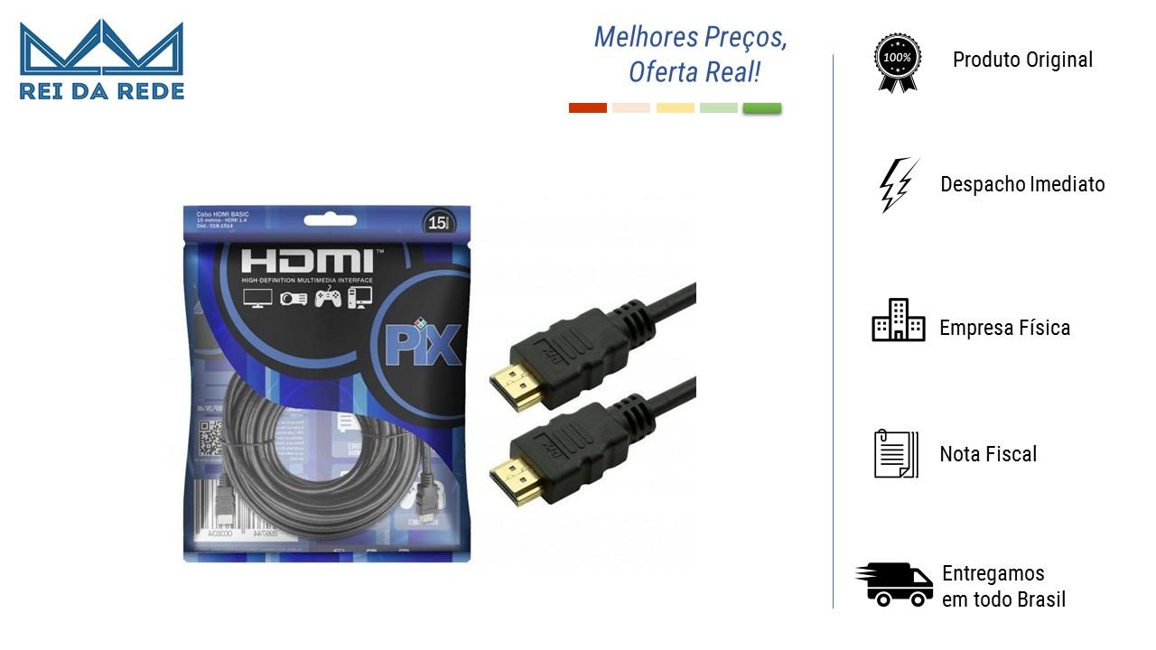 CABO HDMI 4K 1.4 ULTRA HD 19P MARCA: PIX - MODELO: 15 METROS