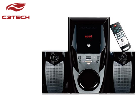 Caixa De Som 2.1 Mini System Bluetooth Radio USB SD 44W RMS CONT Remoto C3TECH SP-365B BK