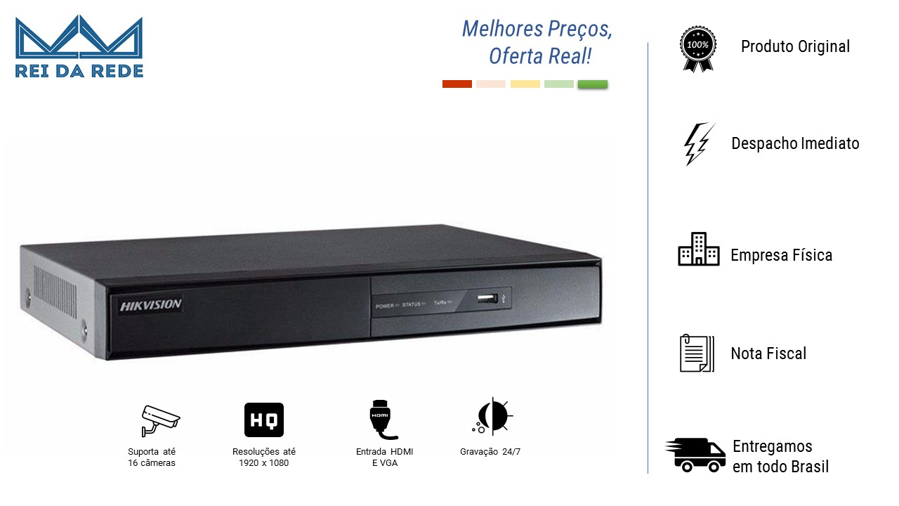 DVR 16 CANAIS 720P DIGITAL MARCA: HIKVISION - MODELO: DS-7216HGHI-F1/N