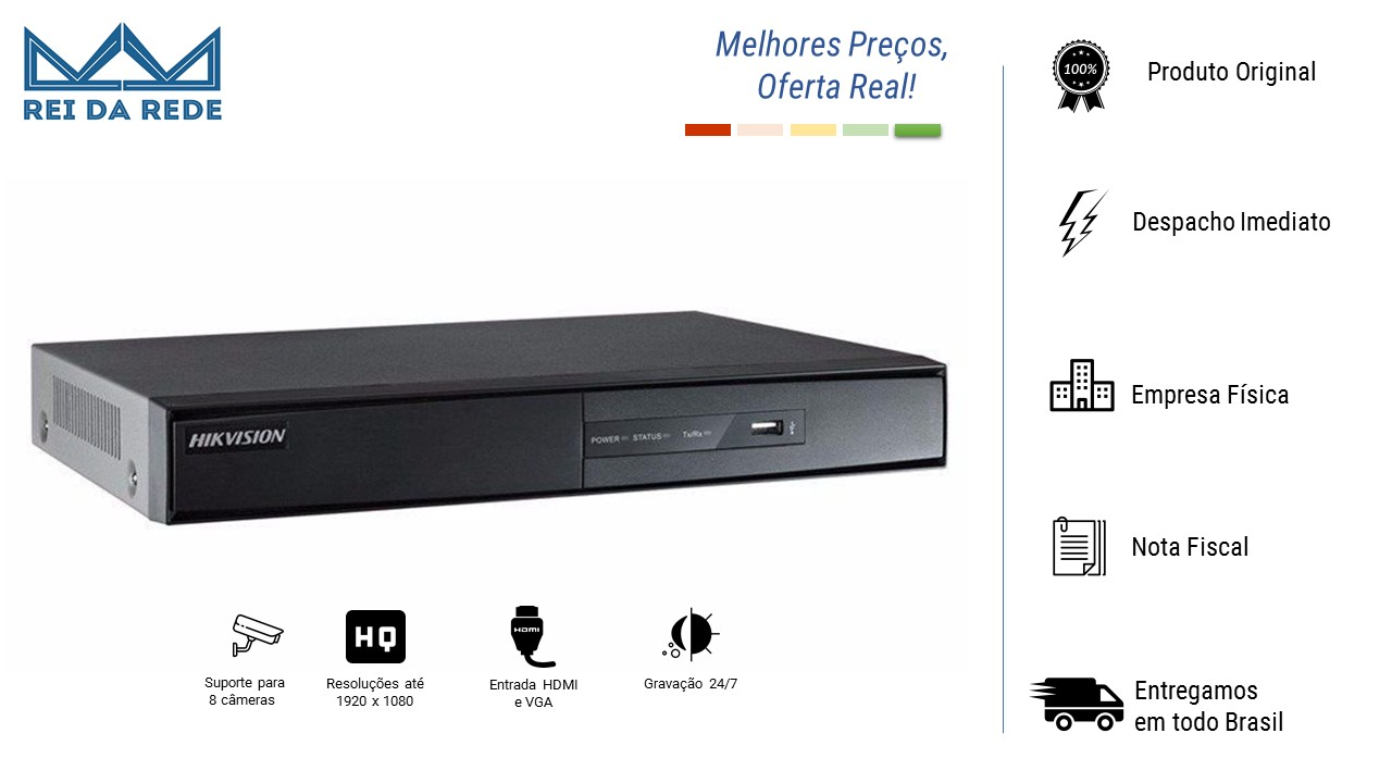 DVR 8 CANAIS DIGITAL TURBO HD DS-7208HGHI-F1/N HDMI E VGA ATÉ 1920X1080 - HIKVISION