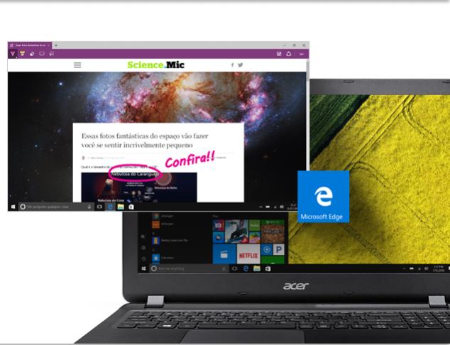 O Microsoft Edge é o seu novo navegador web. Ele tem recursos incríveis como anotações na tela, um modo de leitura que deixa apenas o conteúdo em destaque e o Hub, uma ferramenta que te ajuda a encontrar arquivos salvos, favoritos e seus links de leituras.