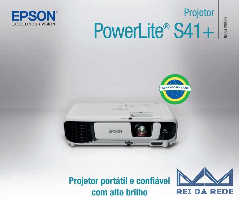 PROJETOR EPSON POWERLITE S41+ 3300 LUMENS 3LCD HDMI/VGA BIVOLT V11H842024 WI-FI OPCIONAL