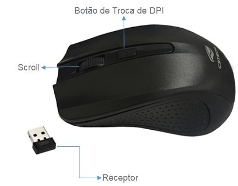 Mouse Sem Fio Receptor Nano Free Smart Link M-W20bk Preto C3tech