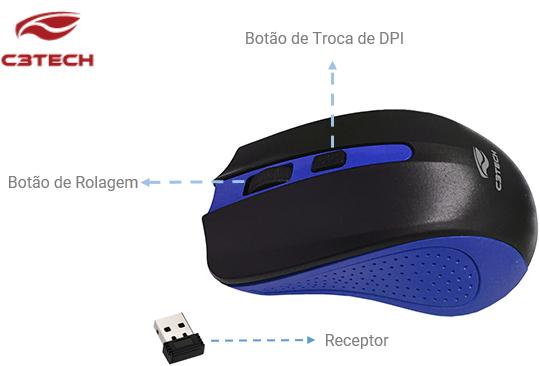 Mouse sem fio 1000dp M-W20BL Azul C3tech