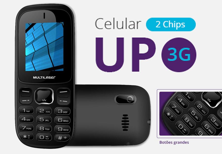 Celular UP 3G Dual Chip Desbloqueado Preto P9017 Multilaser