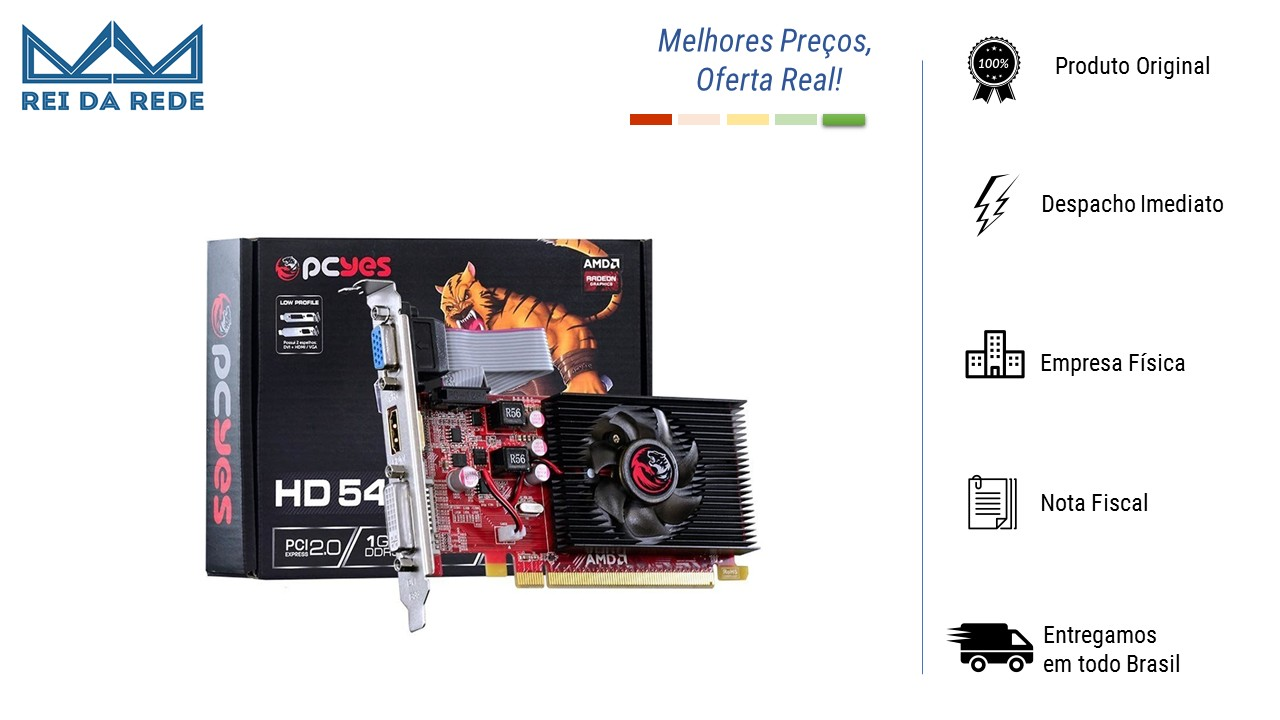 PLACA DE VIDEO AMD RADEON HD 5450 LOW PROFILE 1GB DDR3 64 BITS