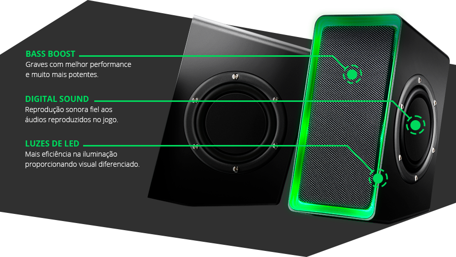 O Speaker Gamer da linha Warrior é voltado para os players que buscam melhor percepção sonora, para melhorar ainda mais a localização dos efeitos e dos sons emitidos, conseguindo ter a sensação do tamanho de espaço e a distância dos inimigos.