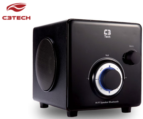 CAIXA DE SOM MINI SYSTEM BLUETOOTH RADIO USB P2 SUBWOOFER MARCA: C3TECH - MODELO: SP-330B BK