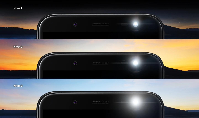 Adicione luminosidade às suas imagens sem distorcê-las. O Galaxy J6 apresenta flash com ajuste em três níveis para evitar selfies de má qualidade, mesmo em ambientes mais escuros.