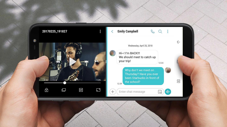 """Display próprio para multitarefas O brilhante Display Infinito de 5,6"""" do Galaxy J6 é ideal para multitarefas, incluindo jogos, textos e páginas da internet. O App Pair possibilita a visualização de vídeos e aplicativos de mensagens simultaneamente. Assim, você pode continuar assistindo a seus videoclipes sem precisar parar para ler as mensagens."""