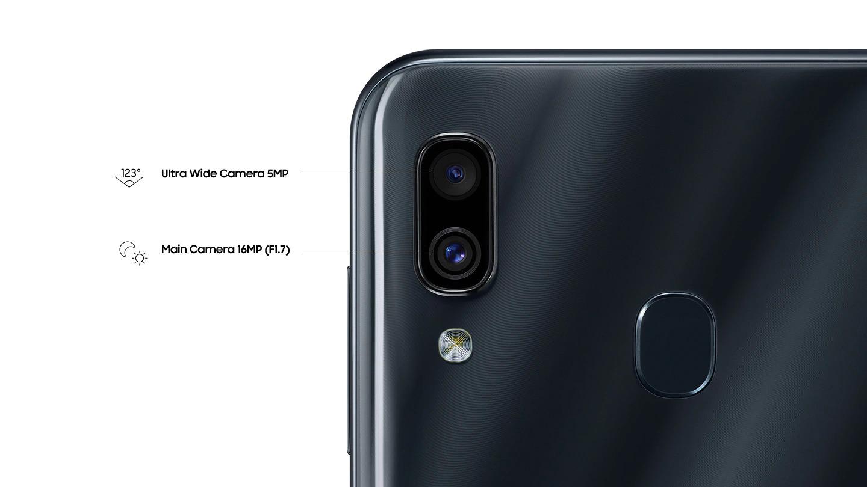 Câmera dupla: capture o seu mundo de forma mais ampla. A câmera dupla do Galaxy A30 é composta pela câmera de 16MP (F1.7) e a câmera ultra-wide com ângulo de 123 para enquadrar ainda mais do seu mundo em um único clique. Tudo com um campo de visão semelhante ao olho humano.