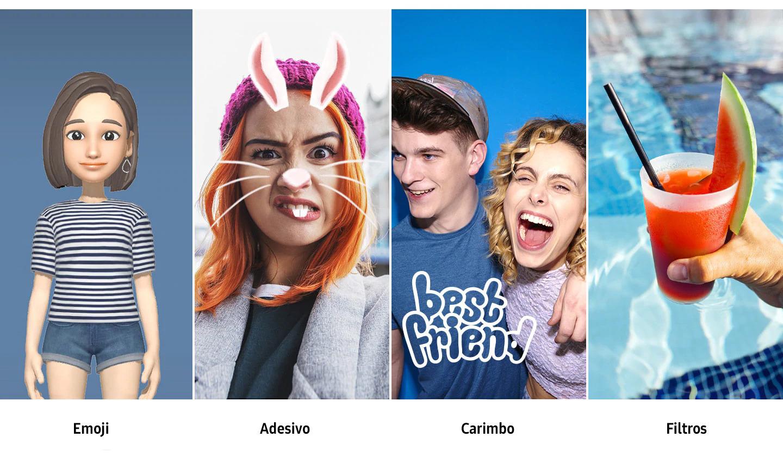 Adicione seu estilo às suas fotos Agora, você tem ainda mais maneiras de se expressar. Crie emojis personalizados para enviar aos seus amigos e mostrar como se sente. Brinque com adesivos, filtros e selos em fotos divertidas que falam mais do que palavras.