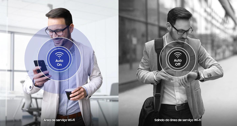 Wi-Fi inteligente Troque de Wi-Fi sem incômodo algum: o Galaxy J6 permite armazenar histórico de Wi-Fi e se conecta e desconecta automaticamente quando você entra ou sai de áreas com redes frequentemente usadas. Agora você pode usufruir de conectividade ininterrupta ao mesmo tempo em que reduz o uso de dados móveis ao entrar ou sair de áreas de rede.