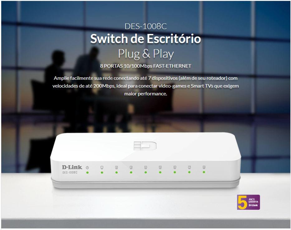 Switch 08 Portas D-Link DES-1008C 10/100mbps Soho