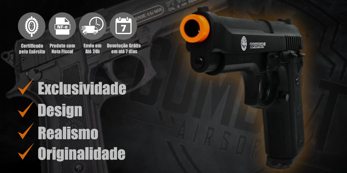 Pistola de Airsoft Spring Slide Metal Taurus PT92 Cybergun