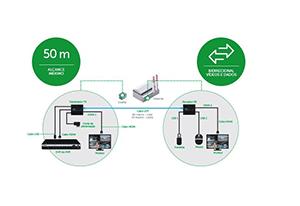 Alcance máximo para conexão a longas distâncias com o Extensor KVM (Vídeo e Dados) Alcance 60m Intelbras VEX 3060 KVM