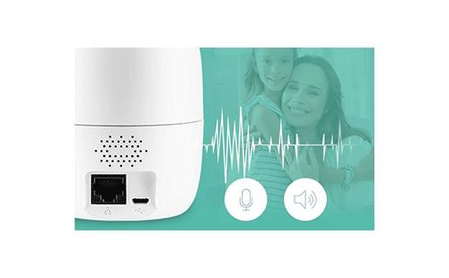 Áudio bidirecional com a Câmera Inteligente Intelbras WiFi Full HD iM4 1080p 360º IR 10m