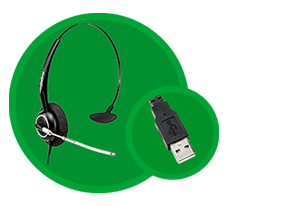 Conector USB Plug & Play com o Headset Intelbras THS 55 USB