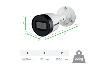 Dimensões e peso da Câmera VIP 3430 B Intelbras