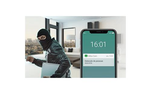Inteligência artificial com alarme integrado com a Câmera Inteligente Intelbras WiFi Full HD iM4 1080p 360º IR 10m