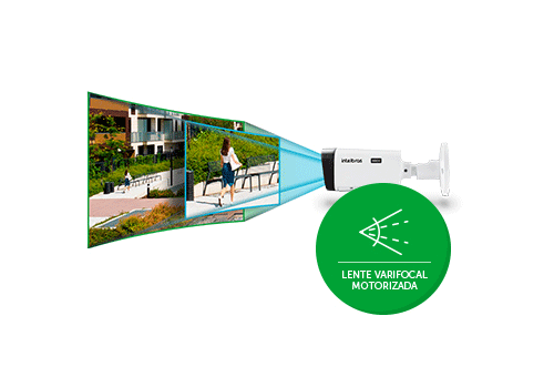 Lente Motorizada com a Câmera Intelbras Full HD 1080p Varifocal VHD 5250 Z Lente 2.7 a 12mm Infra 50 Metros