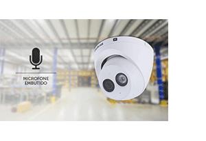 Microfone embutido para vigilância completa com a Câmera Intelbras IP Full HD VIP 3250 MIC com Microfone PoE+ 1080p