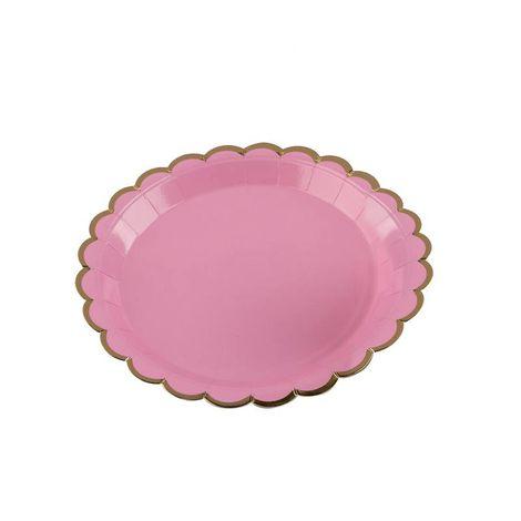 Pratos Descartáveis de papel Decorado rosa e Dourado