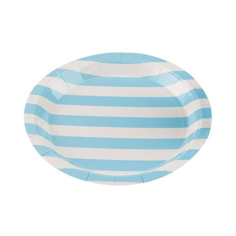 Pratos Descartáveis de papel Listrado Azul bebe