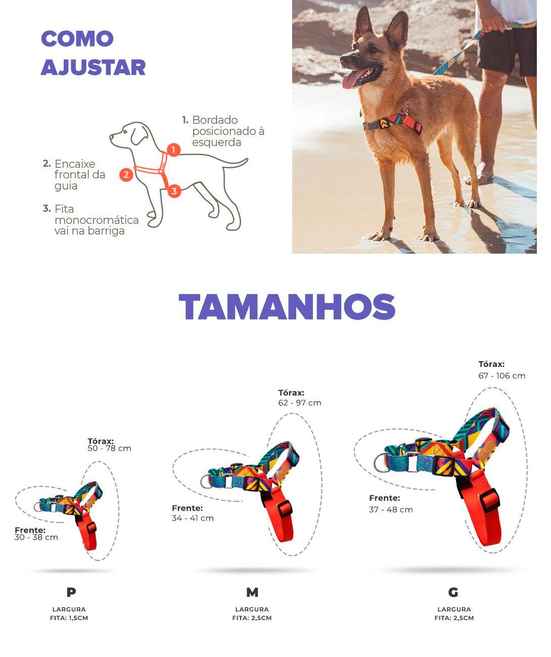 Tamanhos Coleira Peitoral Cachorreiros T-Mutts - Petite Sofie