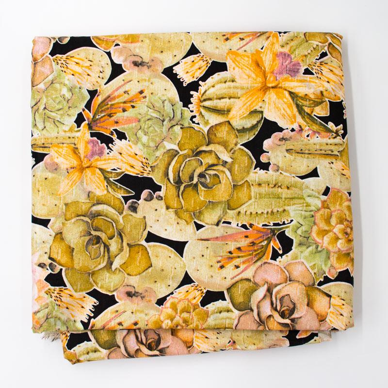 Tecido Gorgurinho - Suculentas e Cactos  Fundo Preto - 50cm x 150cm