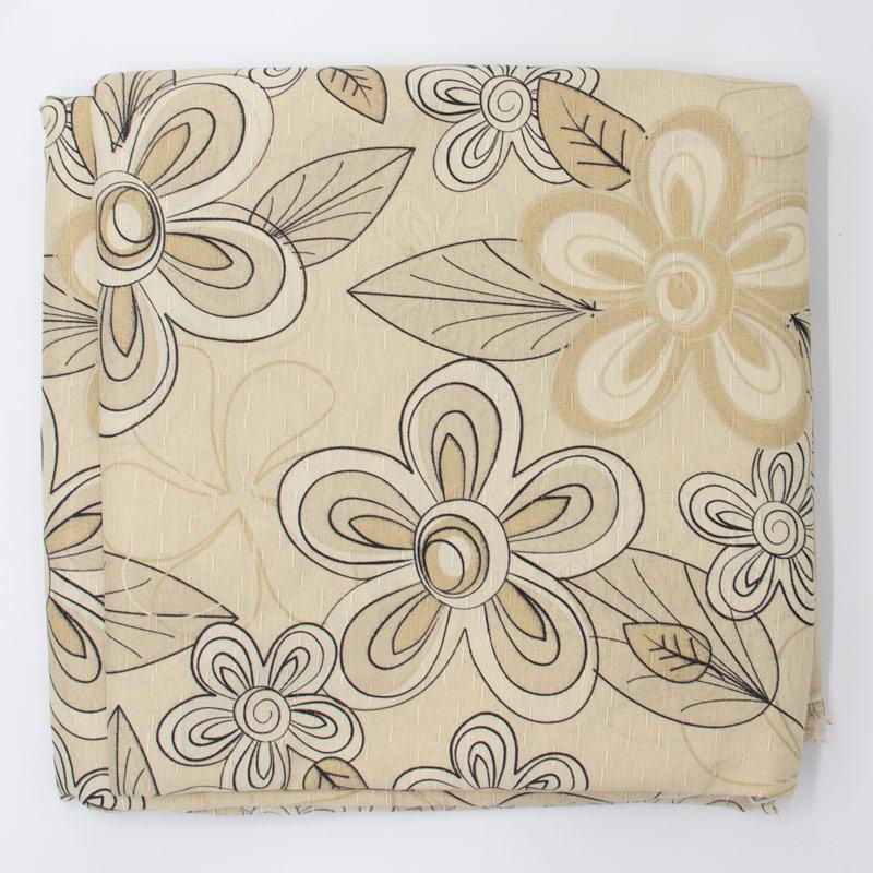 Tecido Gorgurão - Flores Outline Fundo Creme - 50cm x 150cm