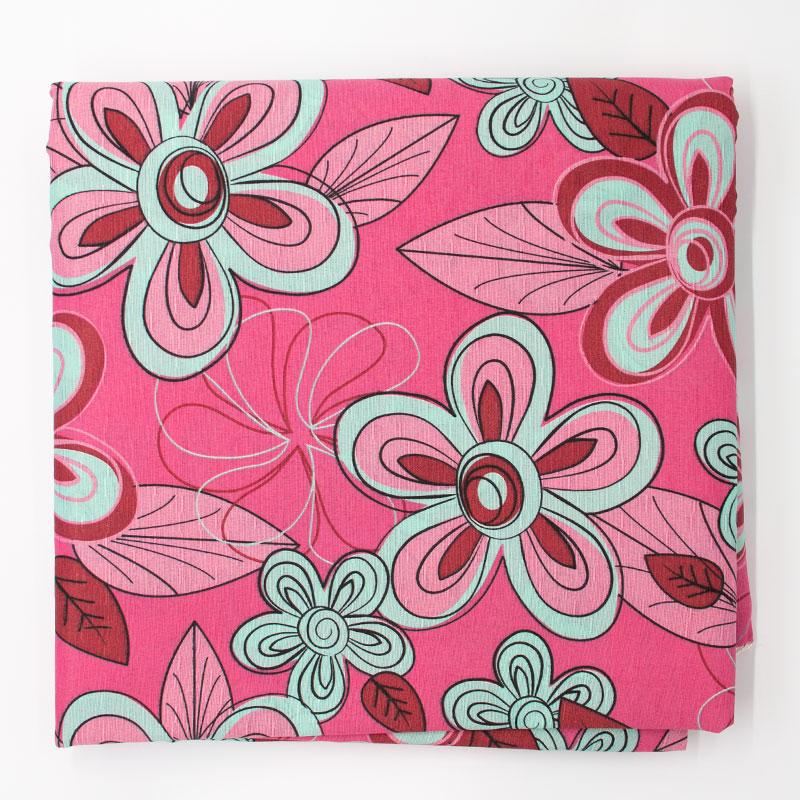 Tecido Gorgurão - Flores Alegres Fundo Rosa - 50cm x 150cm