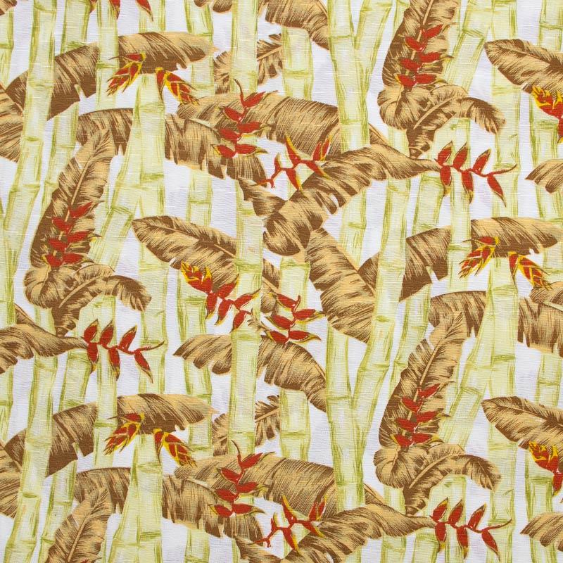 Tecido Gorgurinho - Bambu/Folhas Marrom Fundo Branco  - 50cm x 150cm