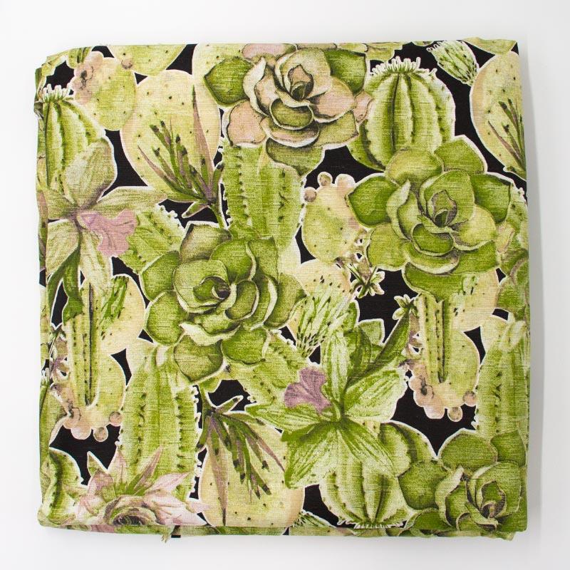 Tecido Gorgurinho - Suculentas e Cactos  Verde Fundo Preto - 50cm x 150cm