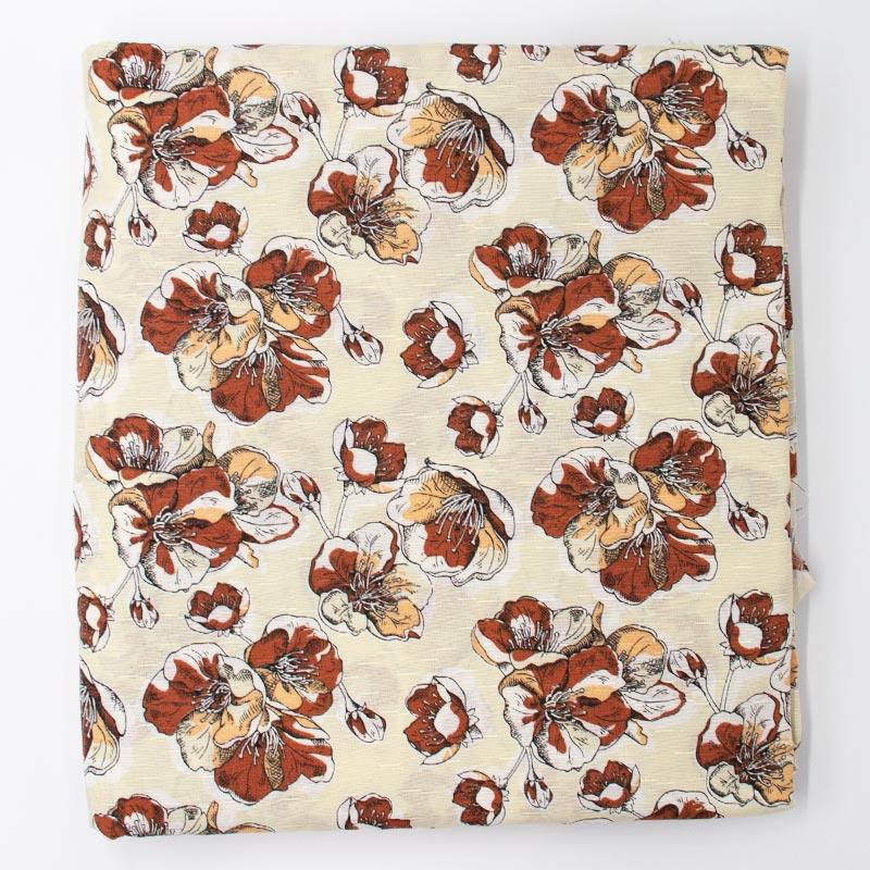 Tecido Gorgurinho - Flores Bordô Fundo Creme - 50cm x 150cm