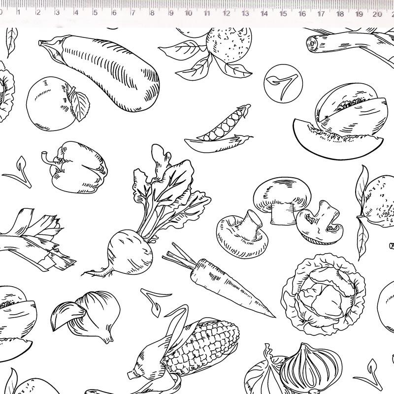 Fernando Maluhy - Coleção Vegan Life - Legumes Fundo Branco - 50cm X150cm