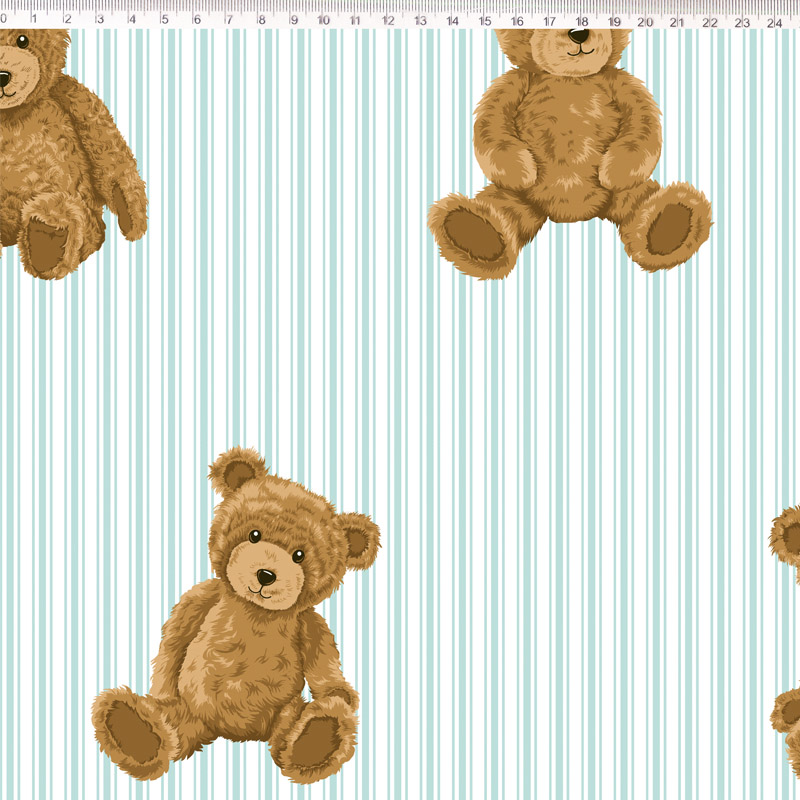 Fernando Maluhy - Coleção Teddy Bear -  Urso Com Listras Azul Clara - 50cm X150cm