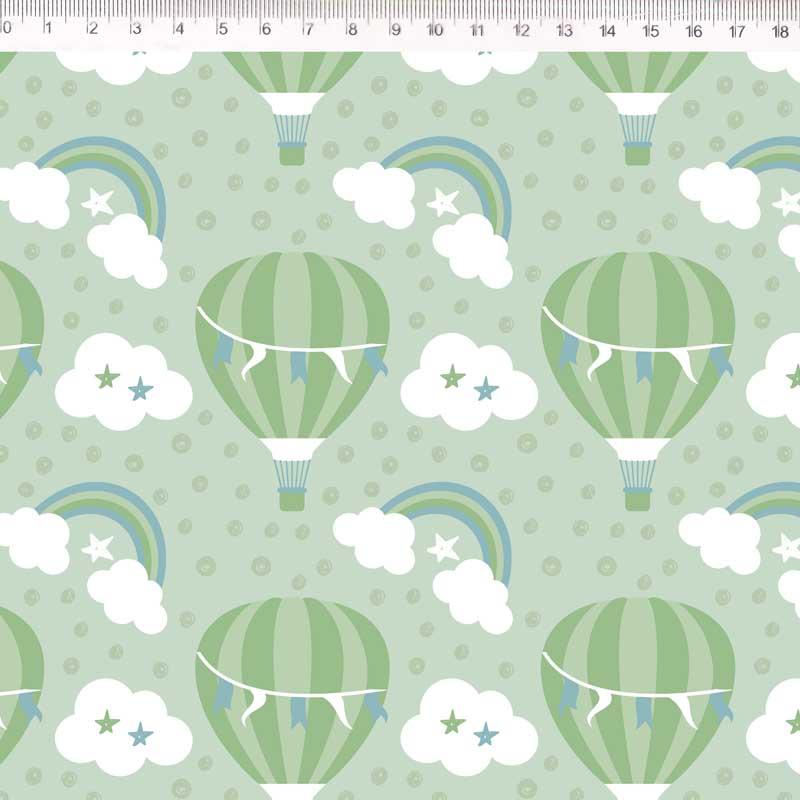 Fernando Maluhy - Coleção Delicata - Balões Com Nuvens Verde - 50cm X150cm