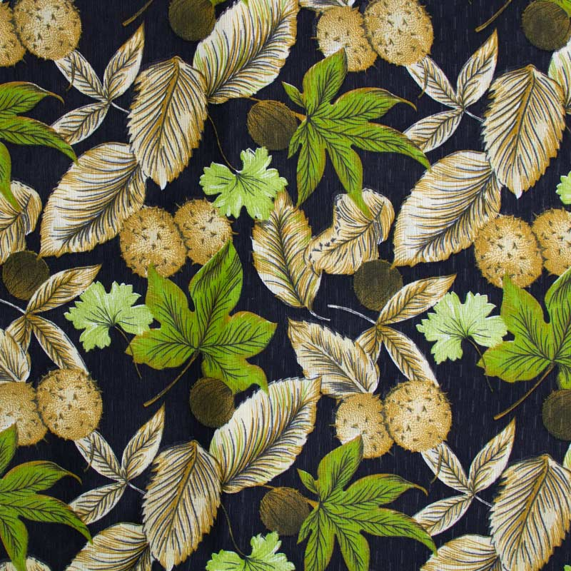 Tecido Gorgurinho - Folhas Verdes/Secas Com Fundo Preto - 50cm x 150cm