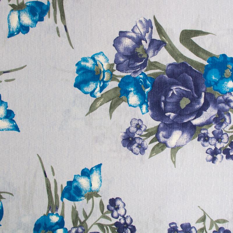 Tecido Gorgurinho - Flores Roxa/Azul Fundo Cinza - 50cm x 150cm