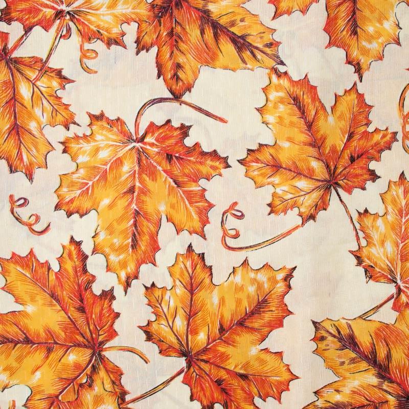 Tecido Gorgurinho - Folhas Laranjas Com Fundo Cinza Ágata - 50cm x 150cm