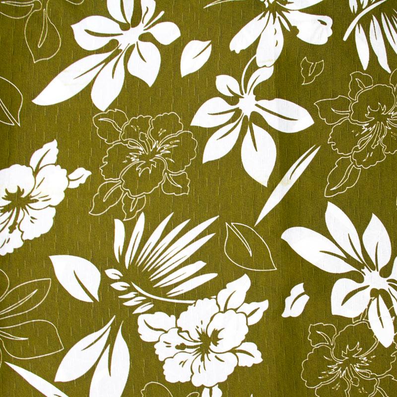 Tecido Gorgurinho - Folhas/Flores Branco Com Fundo Verde Marrom - 50cm x 150cm