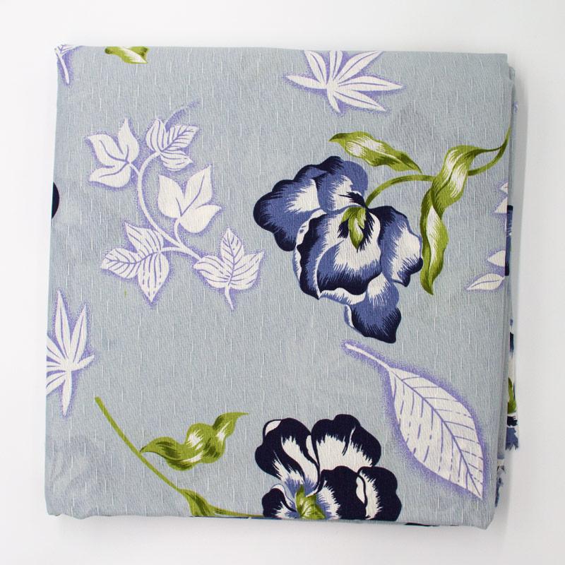 Tecido Gorgurinho -Flores Marinha Roxa/Preto Com Fundo Cinza Filipina   - 50cm x 150cm