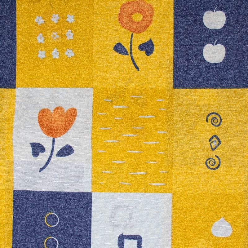 Tecido Gorgurinho - Flores/Frutas Fundo Colorido - 50cm x 150cm