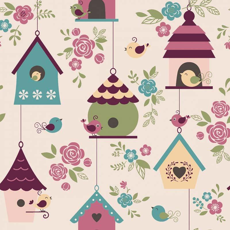 Fabricart Coleção Som dos Pássaros - Casas de Passarinhos Rosa - 50cm X150cm