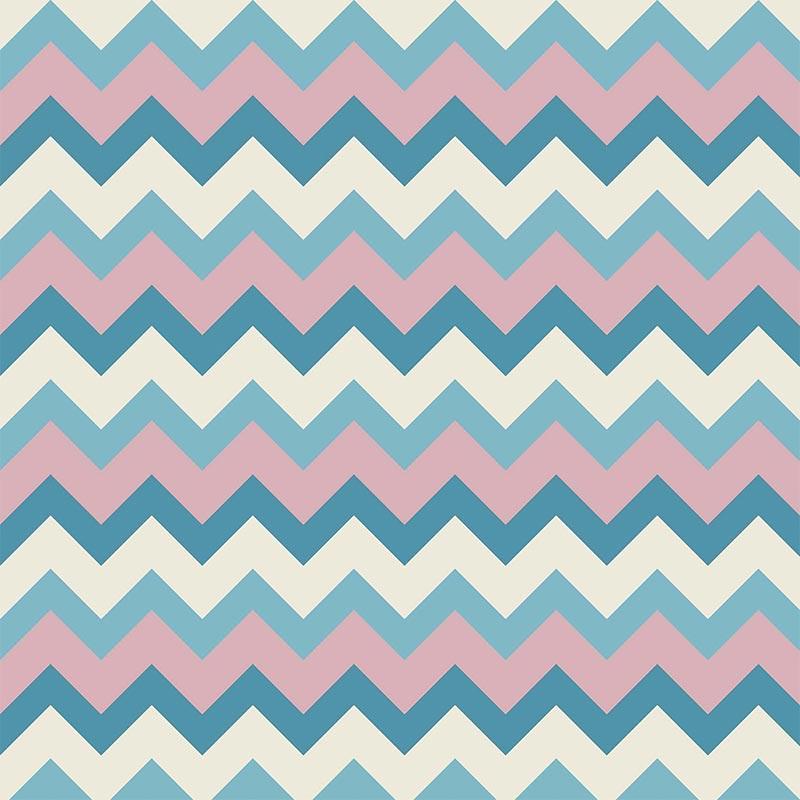 Fabricart Signature - Coleção Shabby - Chevron Tricolor Azul - 50cm X150cm