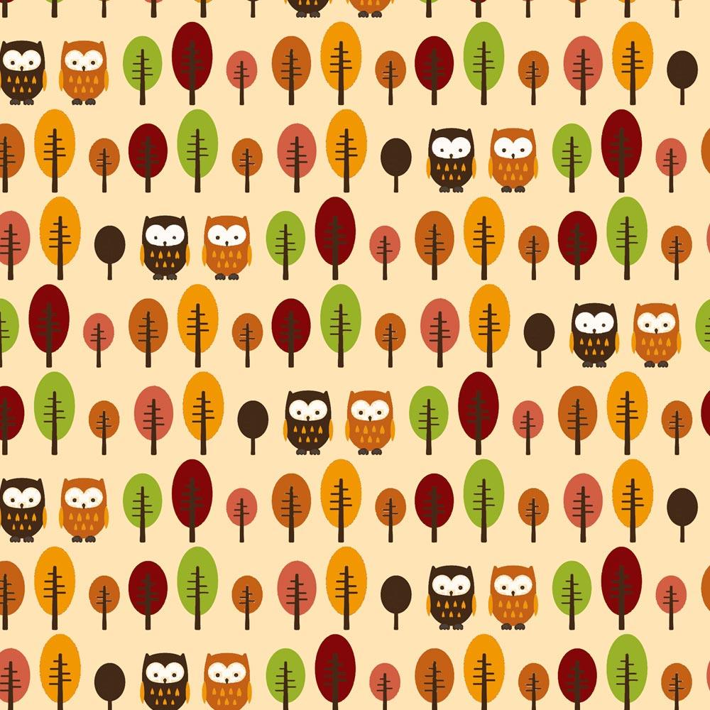 Fabricart Signature - Coleção Corujas - Corujas e Árvores Creme - 50cm X150cm