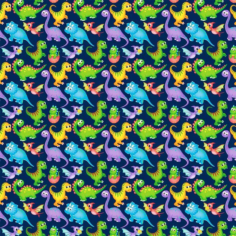 Fabricart - Coleção Digital - Estampa Dinossauros Marinho - 50cm X150cm