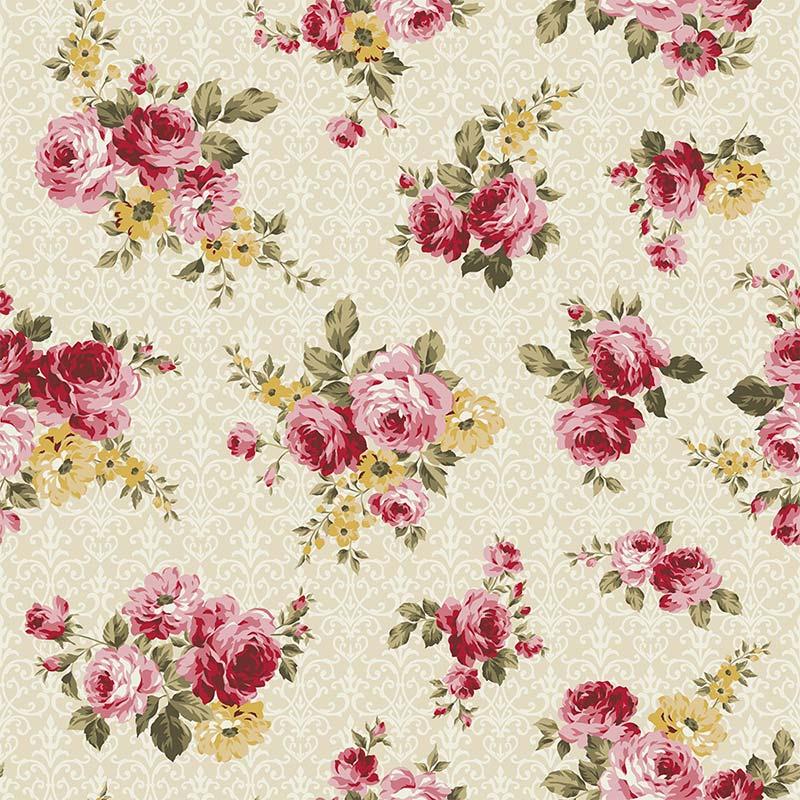 Fabricart Coleção 99 Exuberance - Floral Arabesque Creme - 50cm X150cm